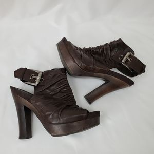 Fergie Leather & Wood Ruched Slingback Heels